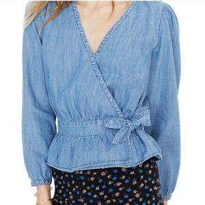 MADEWELL | Chambray Denim Faux Wrap Top Y36